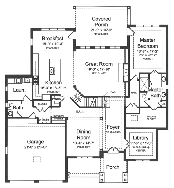 Country Floor Plan - Main Floor Plan Plan #46-856