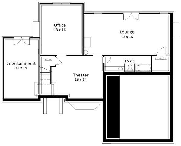 European Floor Plan - Lower Floor Plan Plan #119-127