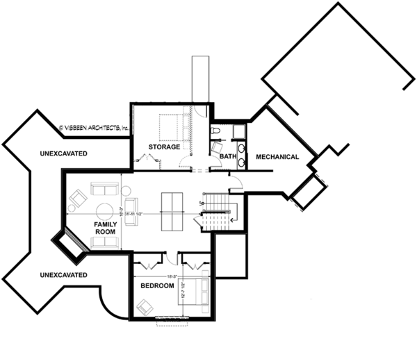 Country Floor Plan - Lower Floor Plan Plan #928-290