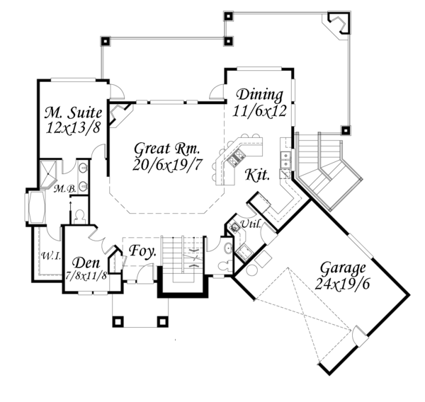 Contemporary Floor Plan - Main Floor Plan Plan #509-84