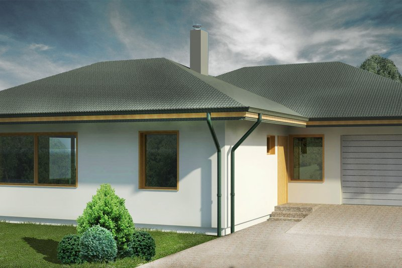 Bungalow Style House Plan - 3 Beds 1 Baths 1422 Sq/Ft Plan #906-7 Exterior - Front Elevation