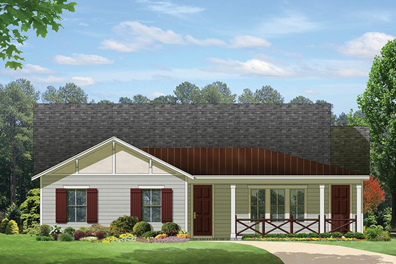 Ranch Exterior - Front Elevation Plan #1058-98
