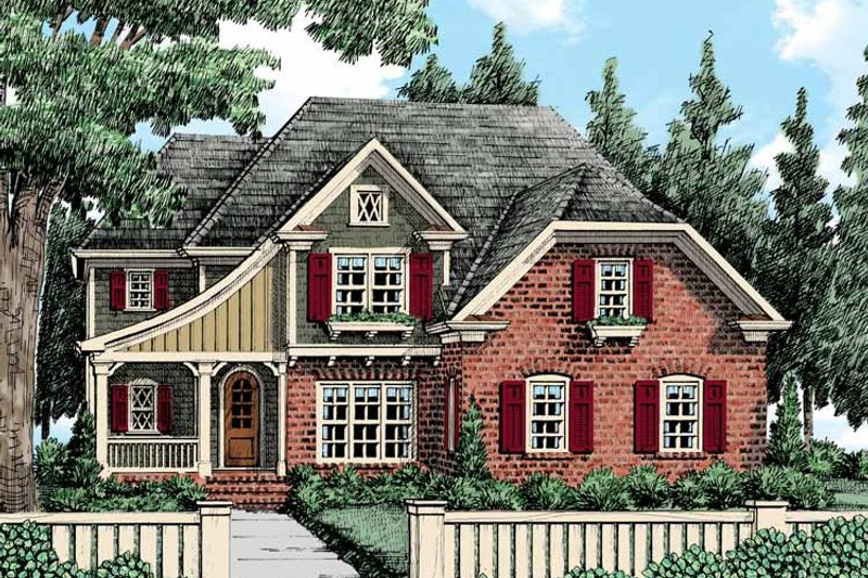 Tudor Exterior - Front Elevation Plan #927-421