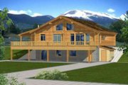 Log Style House Plan - 2 Beds 3 Baths 2875 Sq/Ft Plan #117-405 Exterior - Front Elevation