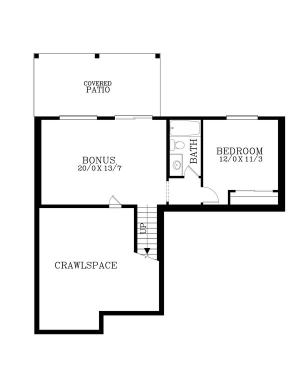 Craftsman Floor Plan - Lower Floor Plan Plan #53-536