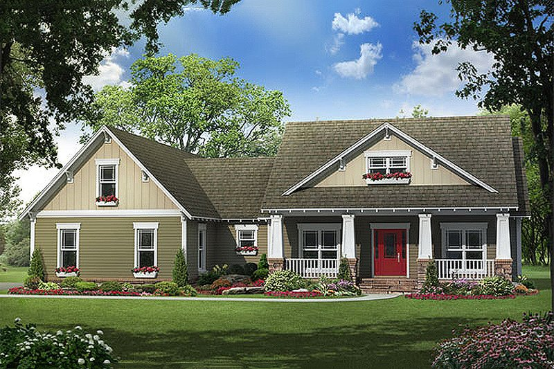Craftsman Style House Plan - 4 Beds 2.5 Baths 2118 Sq/Ft Plan #21-294 Exterior - Front Elevation