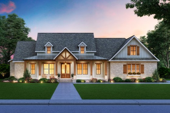 Dream House Plan - Farmhouse Exterior - Front Elevation Plan #1074-15
