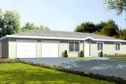 Ranch Style House Plan - 3 Beds 2 Baths 1125 Sq/Ft Plan #1-1053 Exterior - Front Elevation