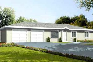 Ranch Exterior - Front Elevation Plan #1-1053