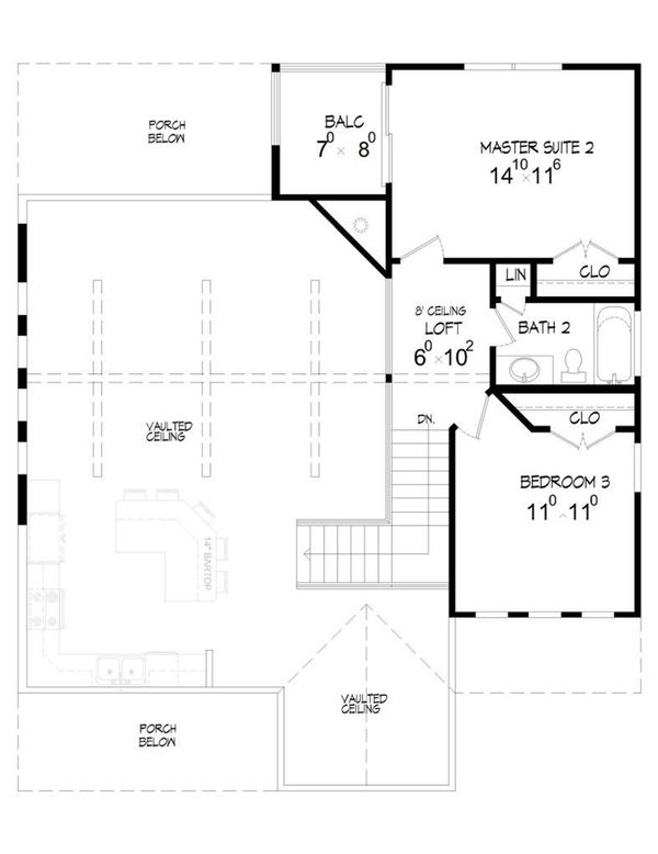 Country Floor Plan - Upper Floor Plan Plan #932-2