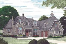 European Exterior - Front Elevation Plan #453-454