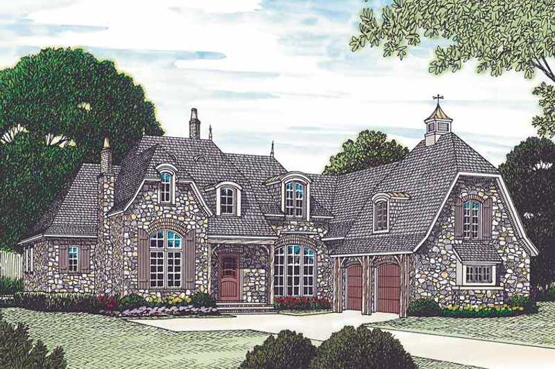 Dream House Plan - European Exterior - Front Elevation Plan #453-454