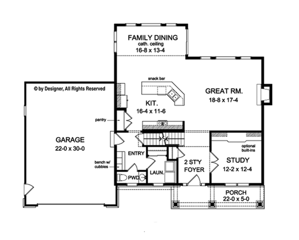 Traditional Floor Plan - Main Floor Plan Plan #1010-129