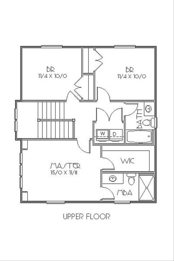 Craftsman Floor Plan - Upper Floor Plan Plan #423-40