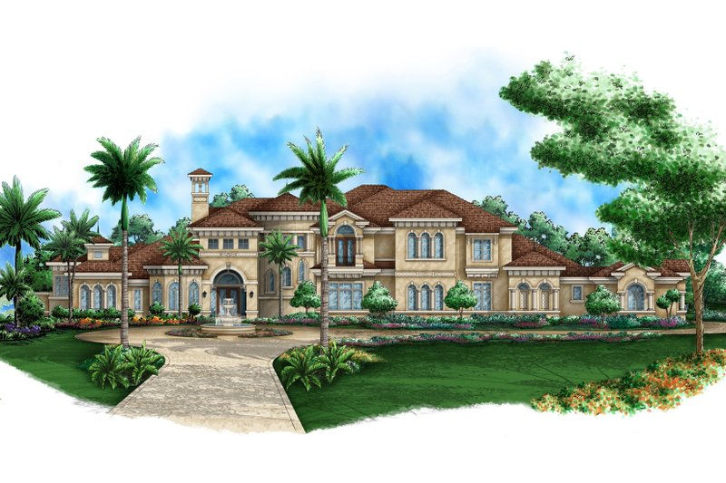 Mediterranean Style House Plan - 5 Beds 6.5 Baths 10875 Sq/Ft Plan #27-536 Exterior - Front Elevation