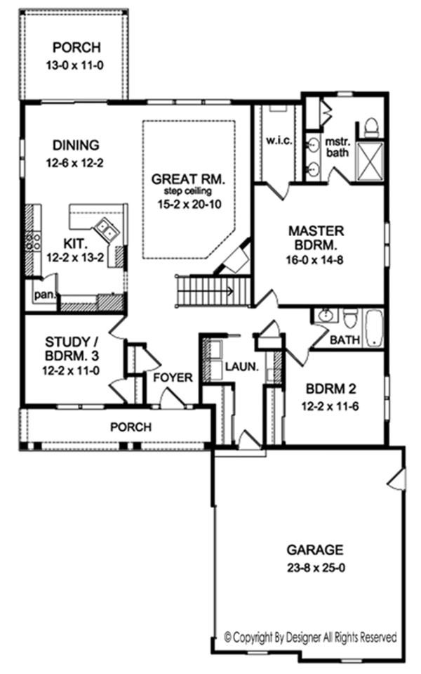 Ranch Floor Plan - Main Floor Plan Plan #1010-144
