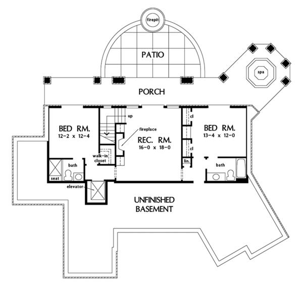Country Floor Plan - Lower Floor Plan Plan #929-993