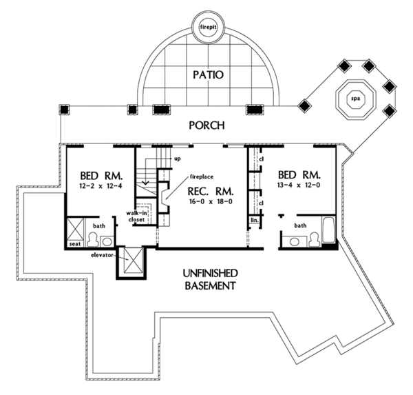 Country Floor Plan - Lower Floor Plan Plan #929-993