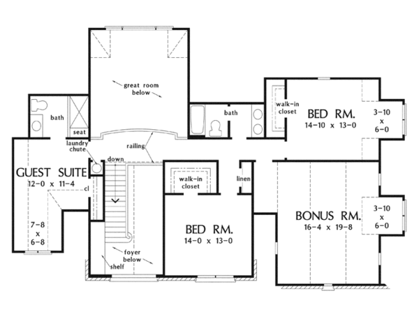 European Floor Plan - Upper Floor Plan Plan #929-915
