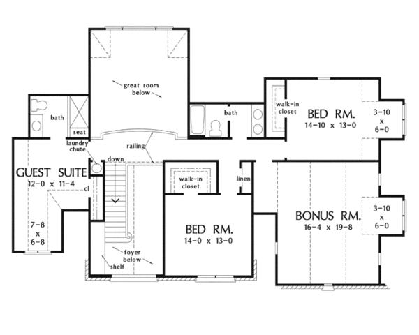 Dream House Plan - European Floor Plan - Upper Floor Plan #929-915