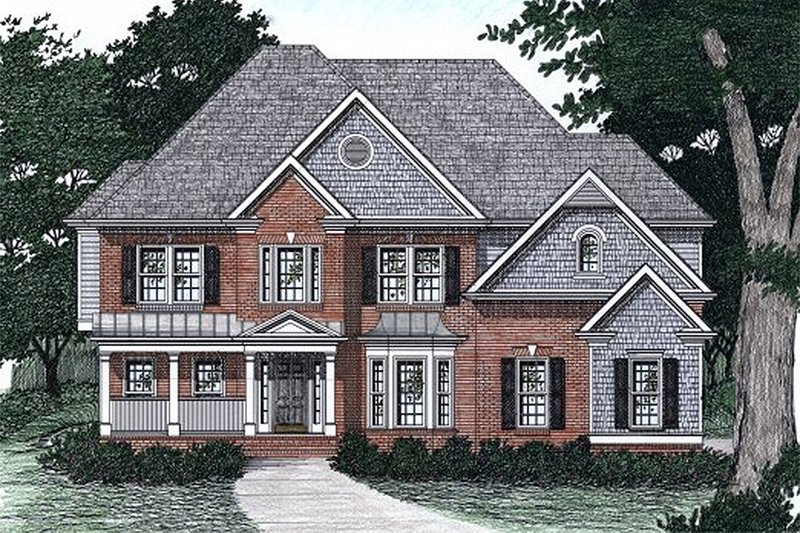 European Style House Plan - 5 Beds 4 Baths 3038 Sq/Ft Plan #129-160 Exterior - Front Elevation