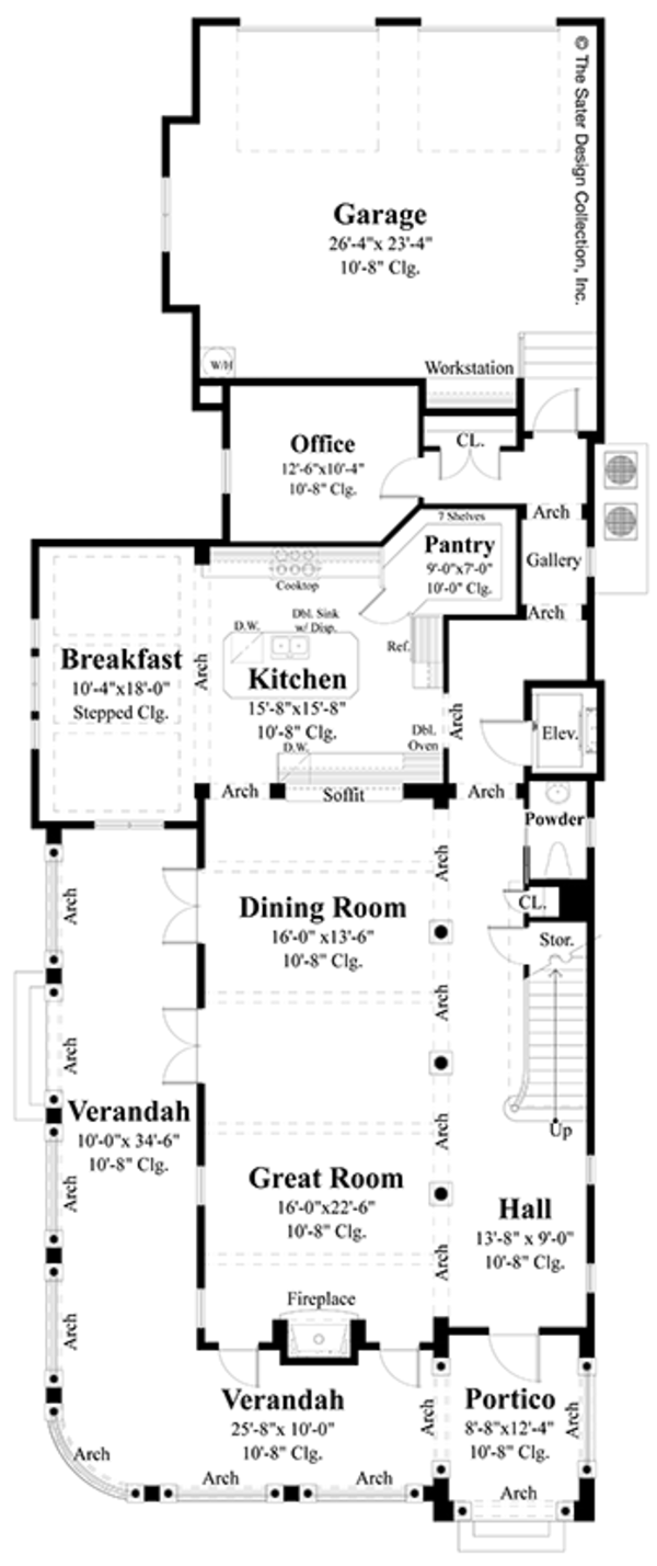 Classical Floor Plan - Main Floor Plan Plan #930-460