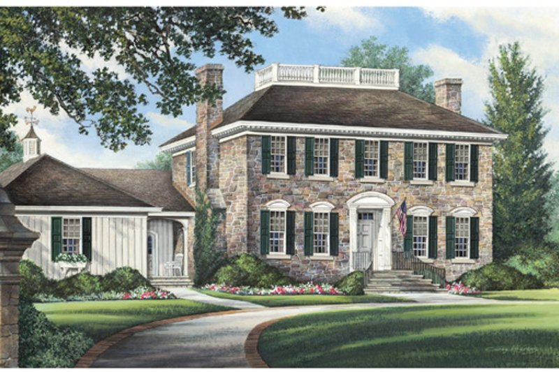 Colonial Exterior - Front Elevation Plan #137-258