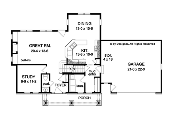 Craftsman Floor Plan - Main Floor Plan Plan #1010-117