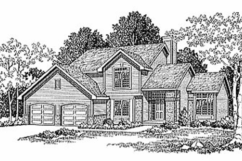 Traditional Style House Plan - 3 Beds 2.5 Baths 1912 Sq/Ft Plan #70-238 Exterior - Front Elevation