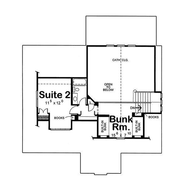 Country house plan design, upper level floor plan