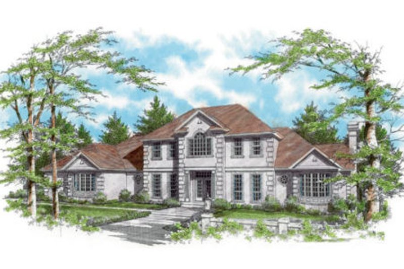European Exterior - Front Elevation Plan #48-349