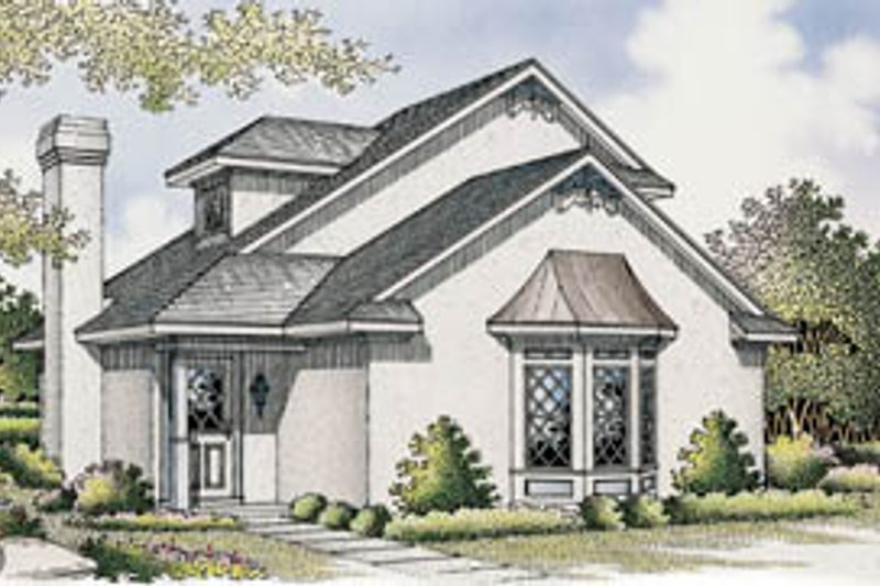 House Blueprint - European Exterior - Front Elevation Plan #45-102