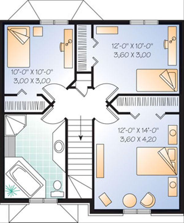 European Floor Plan - Upper Floor Plan Plan #23-2172