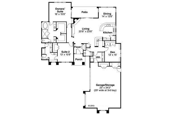Mediterranean Floor Plan - Main Floor Plan Plan #124-545