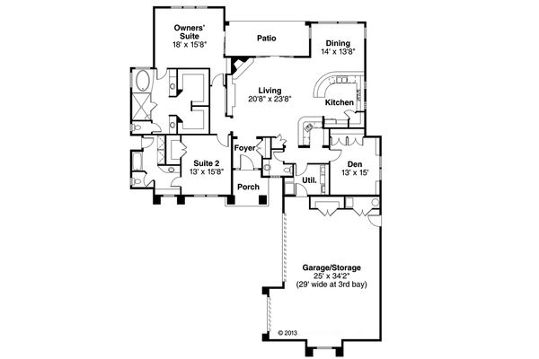 Mediterranean Floor Plan - Main Floor Plan Plan #124-545