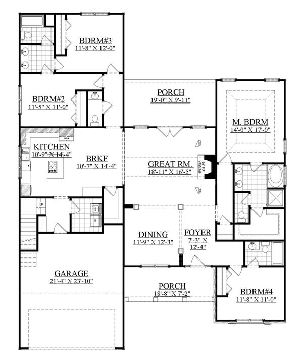 Ranch Floor Plan - Main Floor Plan Plan #1071-21