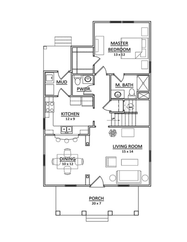 Craftsman Floor Plan - Main Floor Plan Plan #936-2