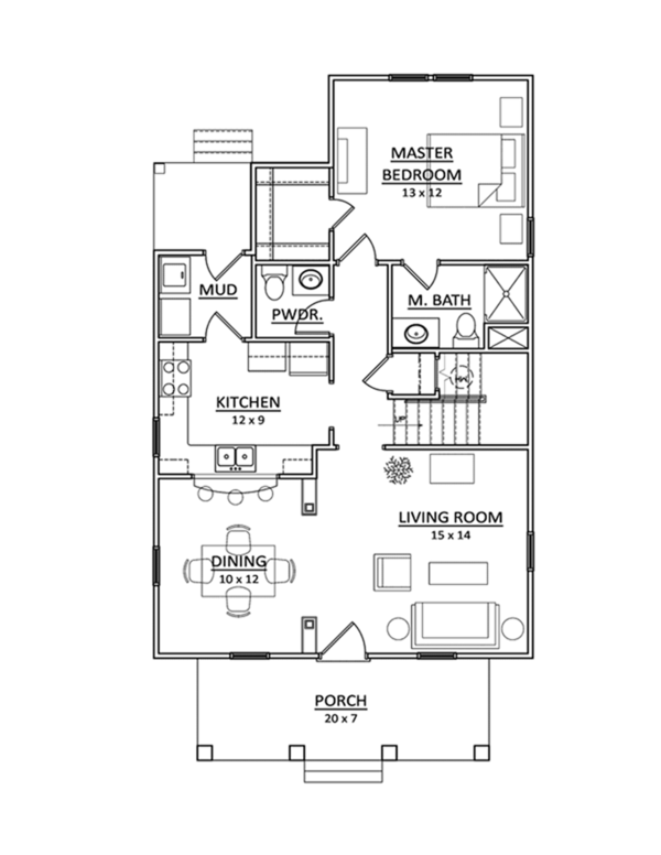 Craftsman Floor Plan - Main Floor Plan Plan #936-2