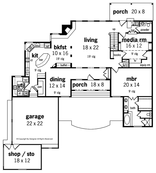 Country Floor Plan - Main Floor Plan Plan #45-458