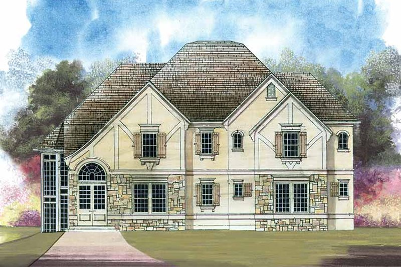 Tudor Exterior - Front Elevation Plan #119-377