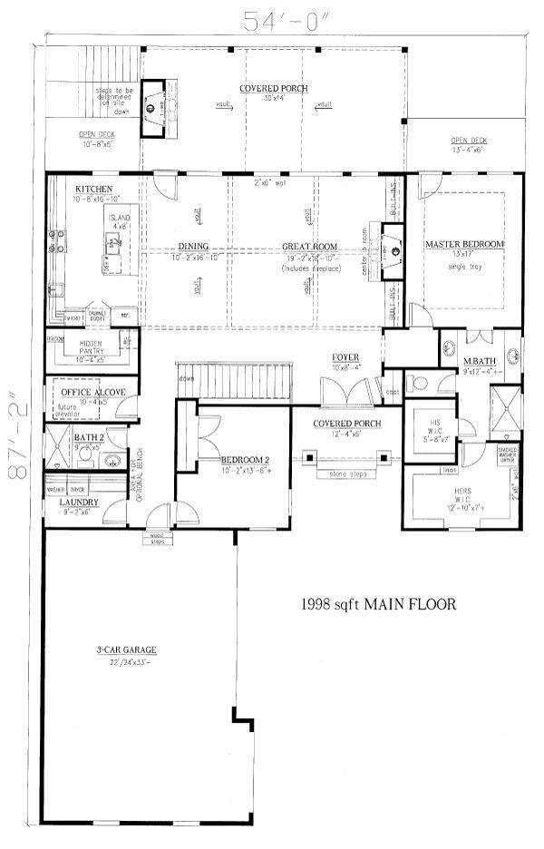 House Plan Design - Craftsman Floor Plan - Main Floor Plan #437-122