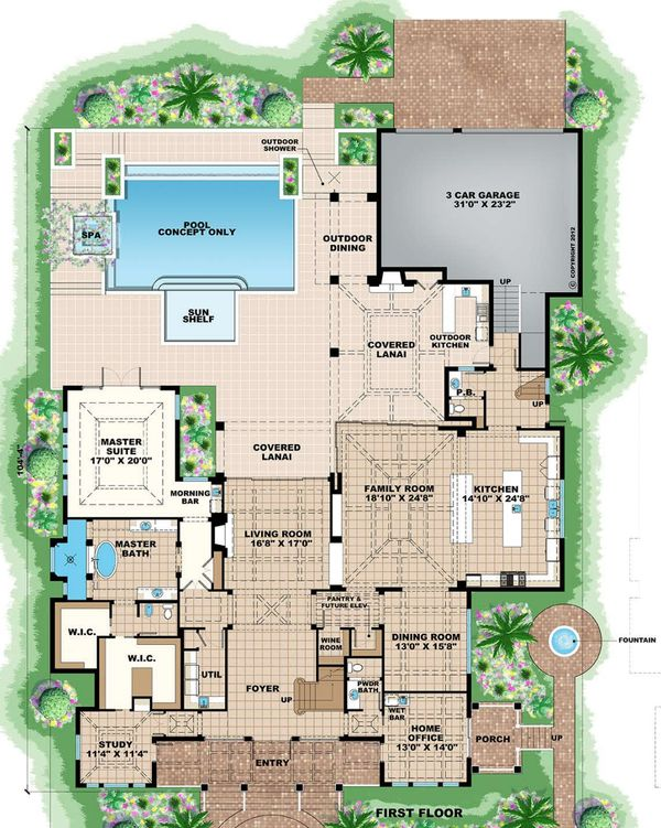 Mediterranean Floor Plan - Main Floor Plan #27-558