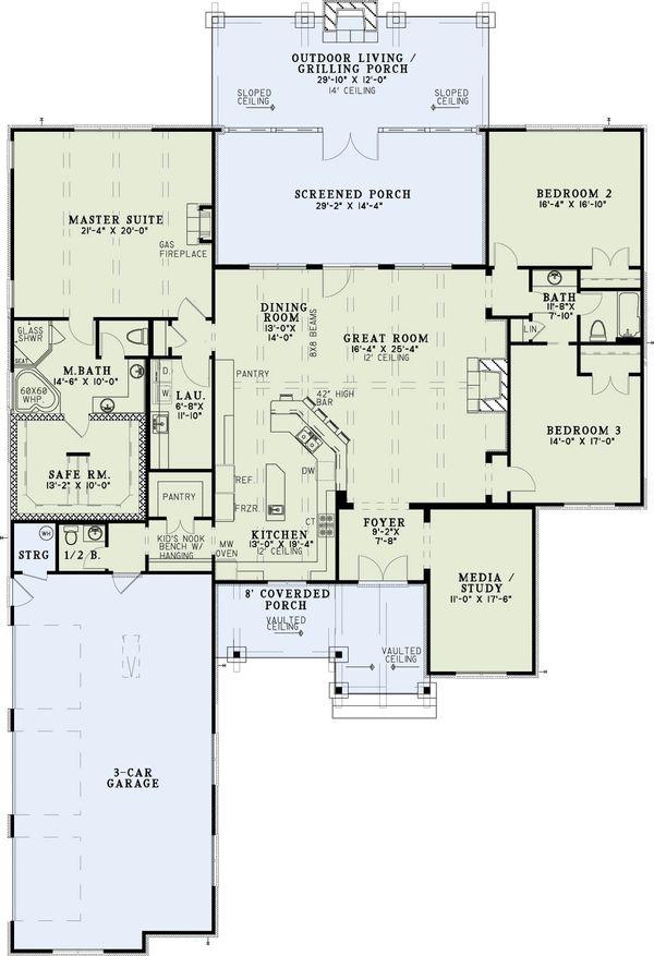 Craftsman Floor Plan - Main Floor Plan #17-2589