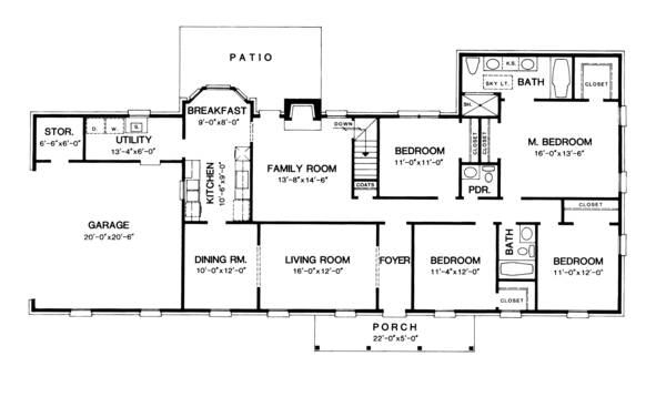 Colonial Floor Plan - Main Floor Plan Plan #10-290