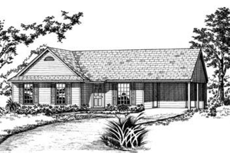 Ranch Style House Plan - 3 Beds 2.5 Baths 988 Sq/Ft Plan #36-254 Exterior - Front Elevation