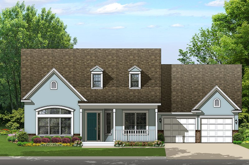 Colonial Style House Plan - 4 Beds 3 Baths 2453 Sq/Ft Plan #1058-156 Exterior - Front Elevation