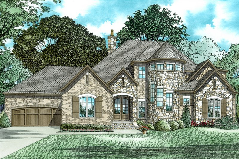 European Exterior - Front Elevation Plan #17-3402