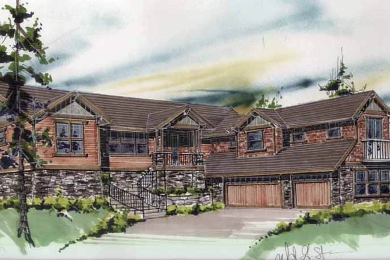 Prairie Exterior - Front Elevation Plan #509-342 - Houseplans.com