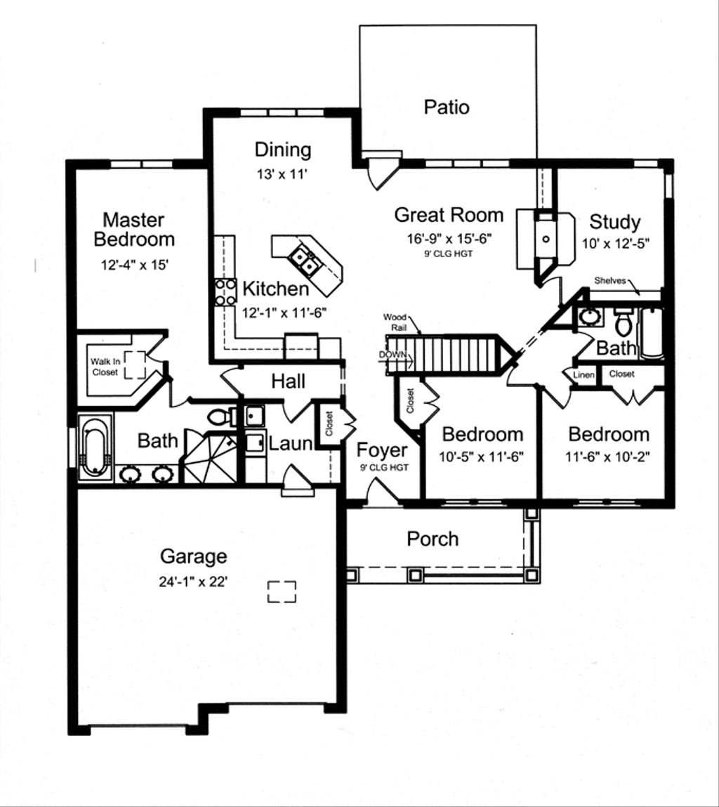 Craftsman style house plan 3 beds 2 baths 1818 sq ft for 1800 sq ft house plans with walkout basement