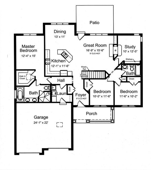 Craftsman Floor Plan - Main Floor Plan Plan #46-836